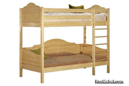 Кровать Кая-3 двухъярусная бесцветный лак