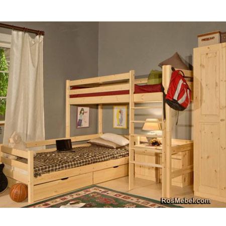 Кровать Классик верхнеярусная бесцветный лак