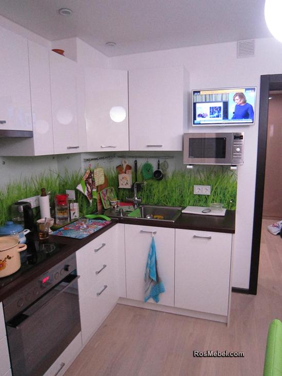 Кухня белая скинали трава