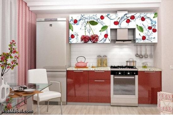 Кухонный Гарнитур 2.1 Олива с Фотопечатью - Вишня