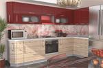 Заказать Кухонный Гарнитур - Микс (Дуб Сонома/Гранат) 3200х1500мм БЕЗ посредников!