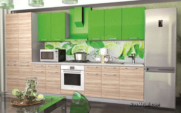 Кухонный Гарнитур - Микс (Дуб Сонома/Зелёный) 3500мм