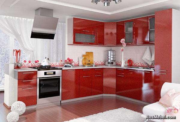 Кухня София угловая 315х245 Гранат