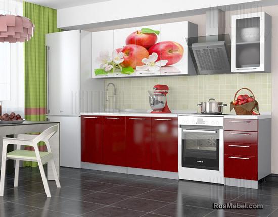 Кухня София с фотопечатью 2,0 Красные яблоки