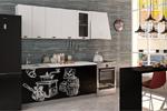 Заказать Кухня 1.8 Кофе тайм белый шагрень чёрный фото БЕЗ посредников!