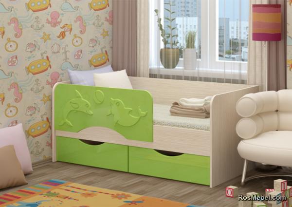 Детская кровать Дельфин 2 160х80 салатовый