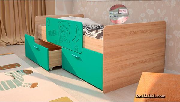 Детская кровать Умка с бортиком бирюза металик