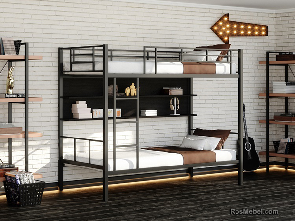 Нью-Йорк П металлическая двухярусная кровать